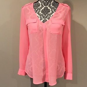 Candie's Sheer Double Breast Pocket Lace Blouse